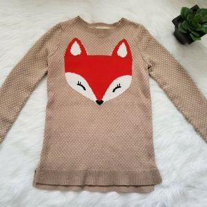 Land's End Girls/Youth Fox Pattern Beige Sweater